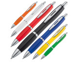 Plastic ball pen with metal clip