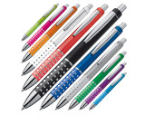 Plastic ball pen with sparkling dot grip zone