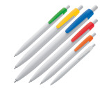 White plastic ball pen with coloured clip